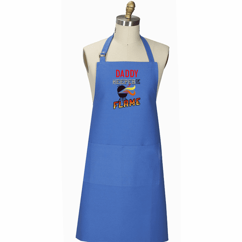"""Personalized Royal Blue BBQ Apron """"Keeper of the Flame"""""""