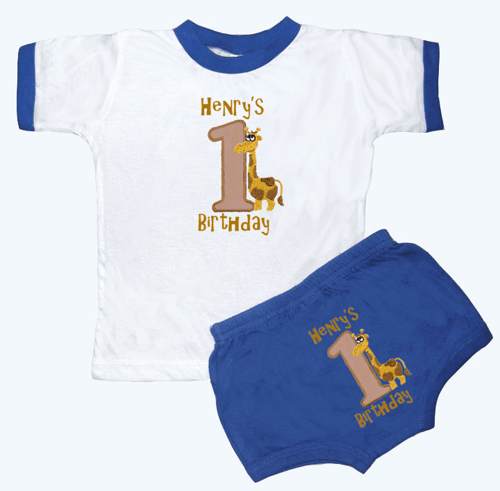 Personalized Royal Boy's 1st Birthday Outfit Giraffe Design