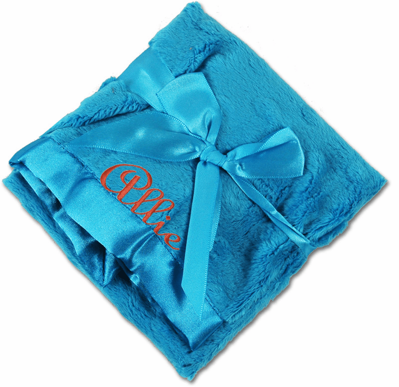 Personalized Security Blanket - Turquoise Minky Dot/Turquoise Satin Personalize Me