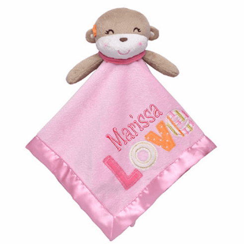 PERSONALIZED Security Snuggly Blankie Pink Love Sweet Monkey Design