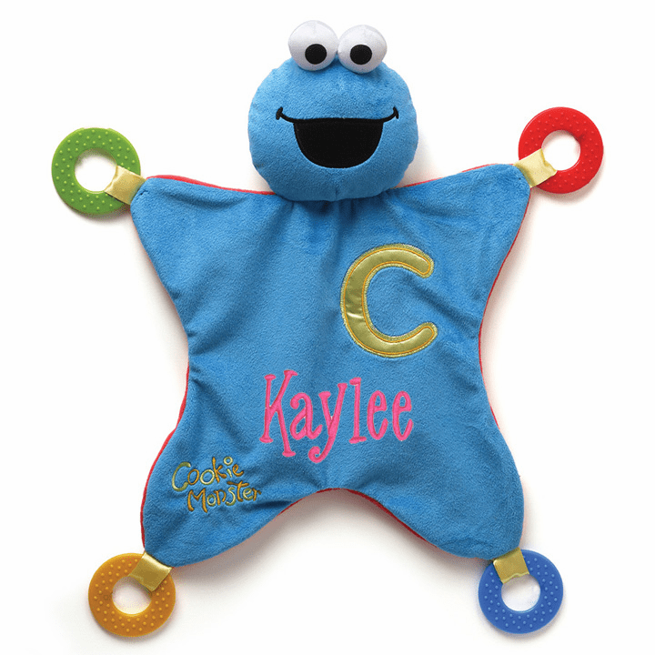 PERSONALIZED Sesame Street Blue & Red Cookie Monster Activity Blanket
