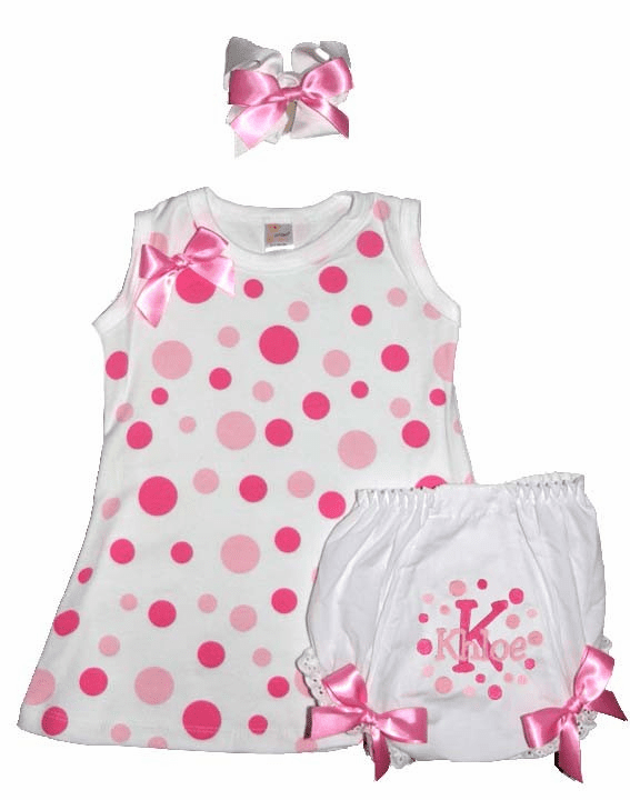 Personalized Set White w/ Pink Polka Dots Dress, Diaper Cover, Hairbow