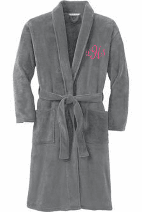 Personalized Smoke Grey Plush Microfleece Shawl Collar Robe