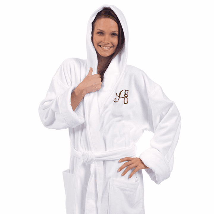 """Personalized Snow White Terry Velour Hooded Robe 54"""""""