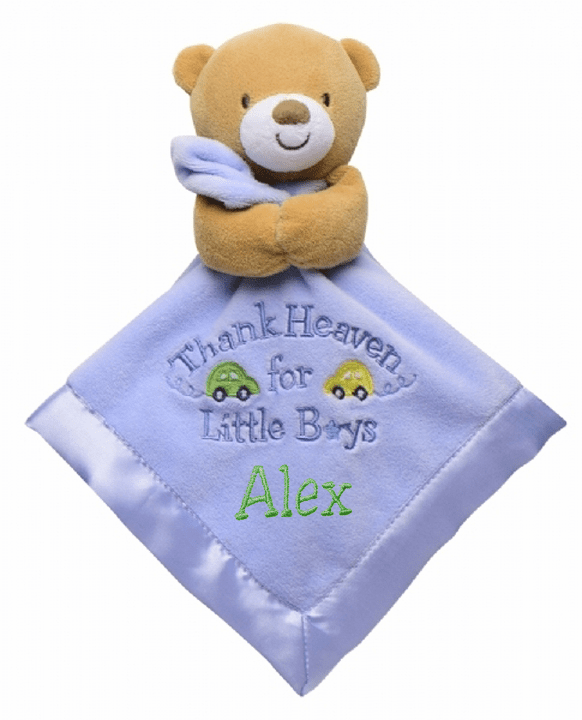"Personalized Snuggle Blanket & Rattle 14"" ""Thank Heaven for Little Boys"" Bear"