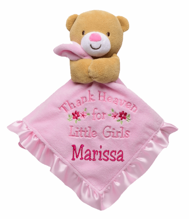 "Personalized Snuggle Blanket & Rattle 14"" ""Thank Heaven for Little Girls"" Bear"