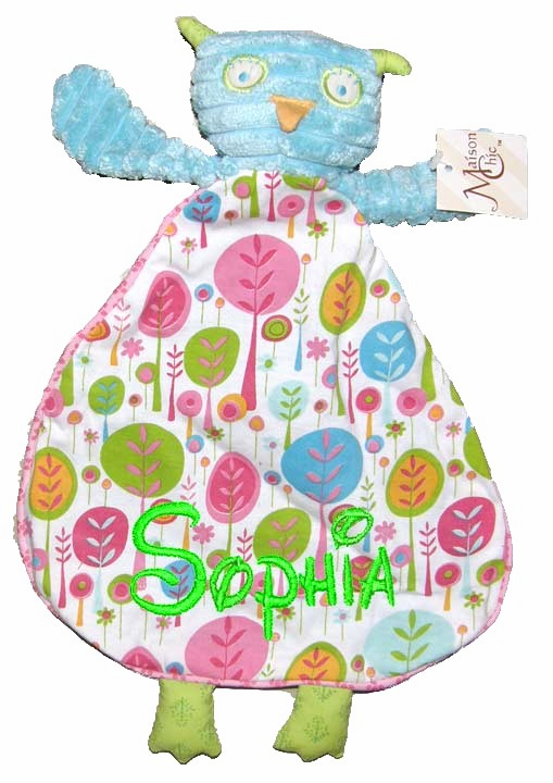 Personalized Snugglie Blanket Aqua Owl with Pink Nature Trees Design