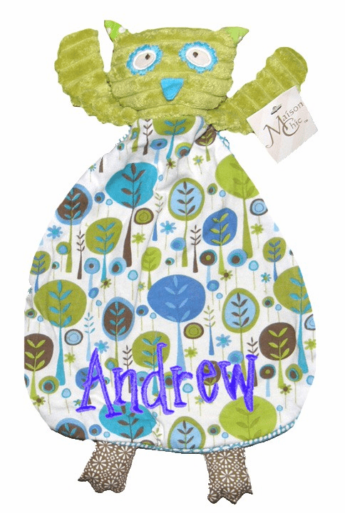Personalized Snugglie Blanket Green Owl with Blue Nature Trees Design