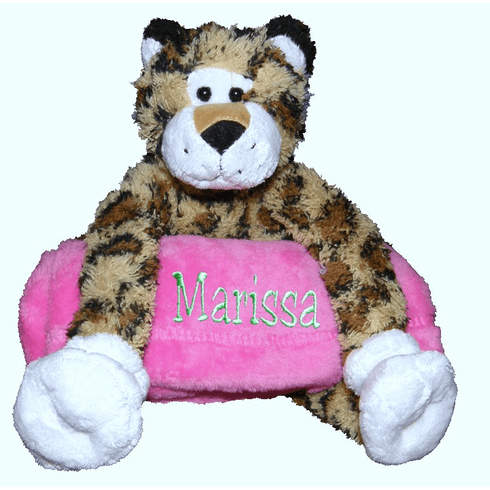 Personalized Snugglie Blanket Leopard Your Choice of Blanket Color