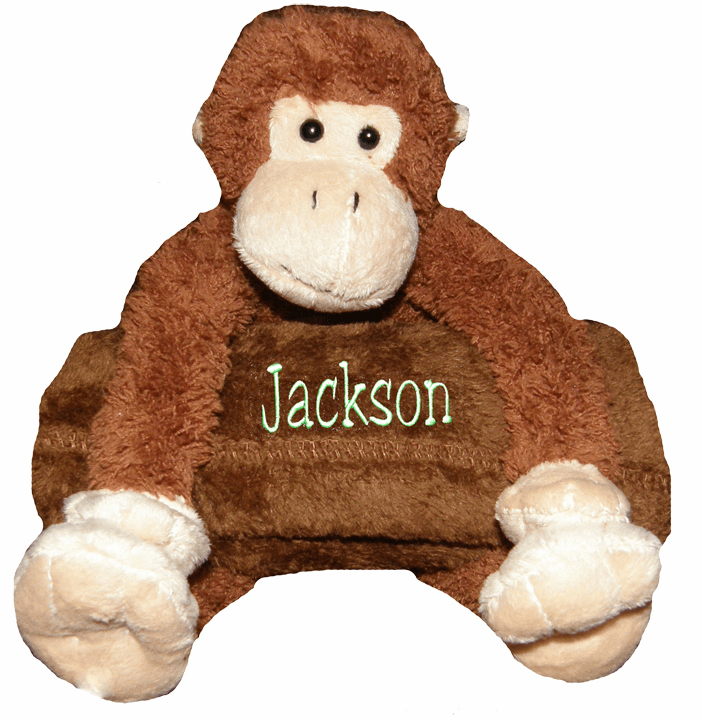 Personalized Snugglie Blanket Monkey Your Choice of Blanket Color