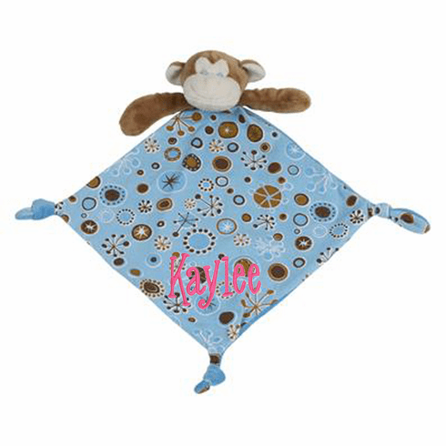 Personalized Snugglie Blanket Teething Ring Monkey Jersey Blanky