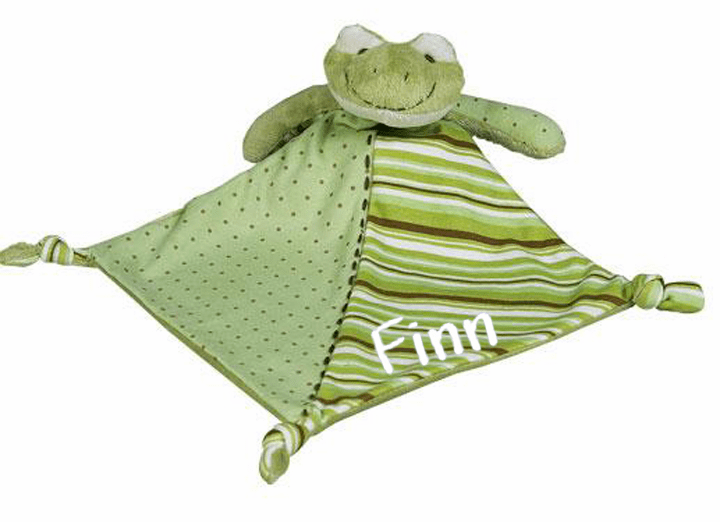 Personalized Snugglie Blanket Teething Toy Green Froggie