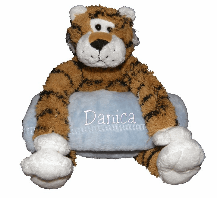 Personalized Snugglie Blanket Tiger & Your Choice of Blanket Color