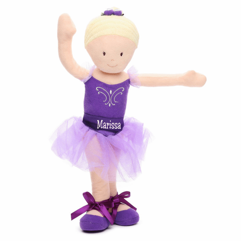 "PERSONALIZED Soft Bend & Pose Blond Ballerina Doll 14"" Tall"