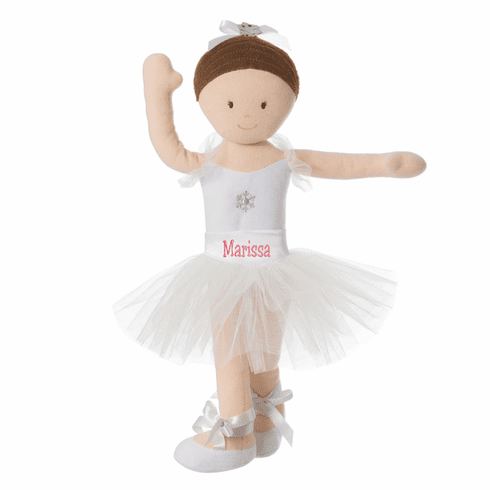 """PERSONALIZED Soft Bend & Pose Brunette Ballerina Doll 14"""" Tall 6579"""