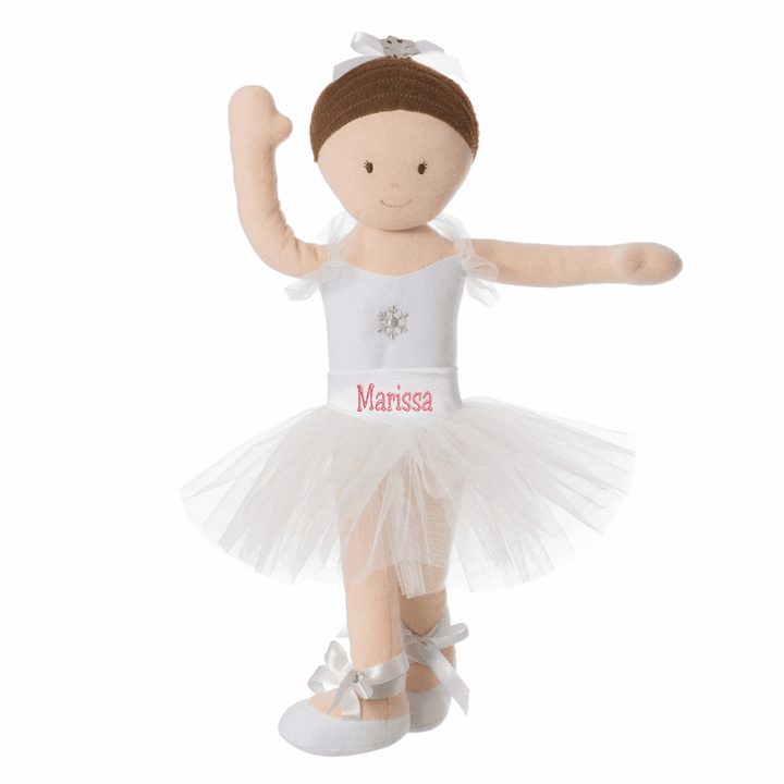 "PERSONALIZED Soft Bend & Pose Brunette Ballerina Doll 14"" Tall 6579"