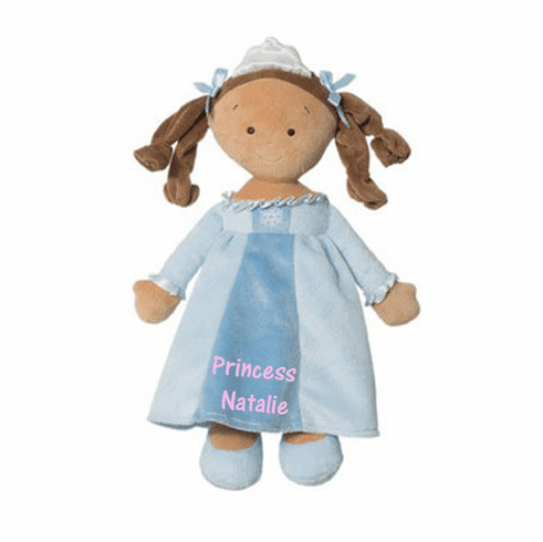 "PERSONALIZED Soft Brunette Snowflake Princess Doll 14"" Tall 6647"