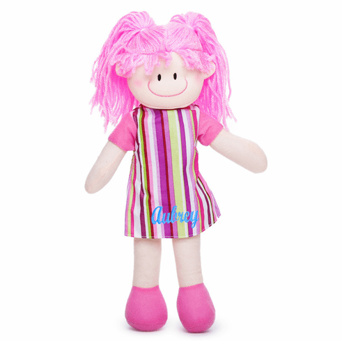 "PERSONALIZED Soft Cloth Baby Doll ""Molly"" with Striped Dress & Pink Yarn Hair 11"" Tall"