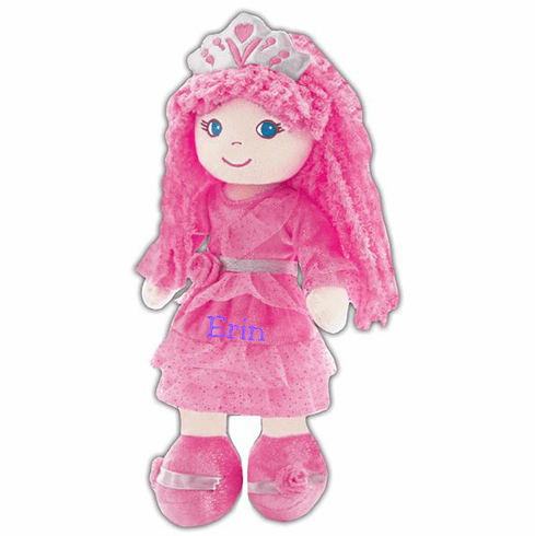 "PERSONALIZED Soft Cloth Dolly ""Pink Fairy Princess Leila"" Baby Doll 14"" Tall"