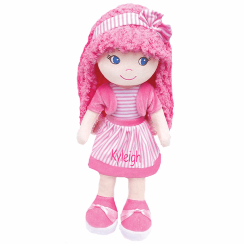 "PERSONALIZED Soft Cloth Dolly ""Pretty in Pink Leila"" Baby Doll 14"" Tall"