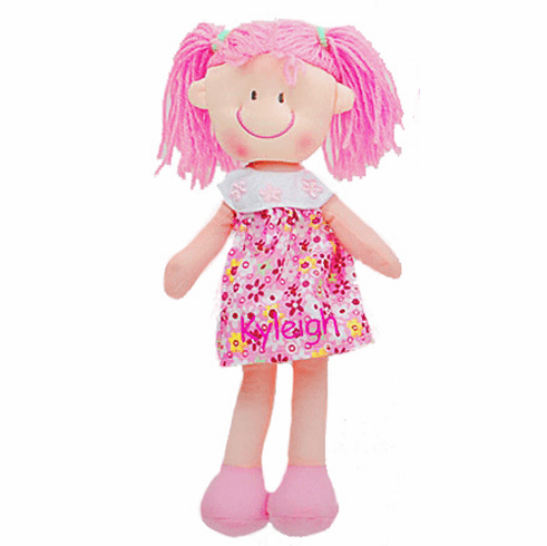 "Personalized Soft Cloth Rag Dolly 11"" Cute Flower Dress Pink"