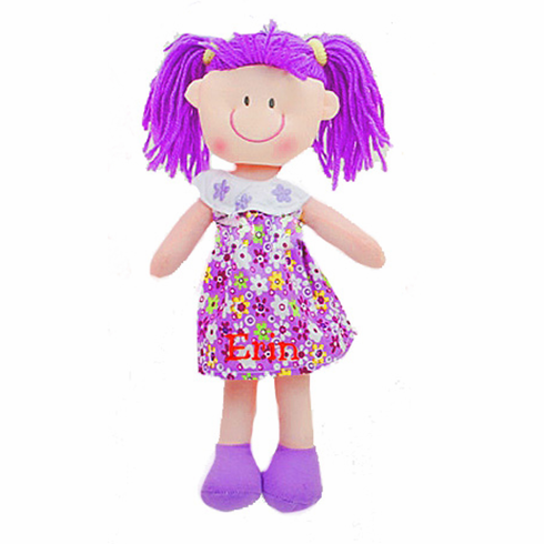 "Personalized Soft Cloth Rag Dolly 11"" Cute Purple Flower Dress"