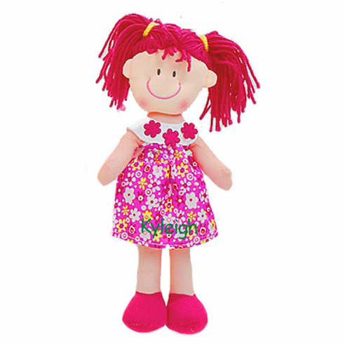 "Personalized Soft Cloth Rag Dolly 11"" Cute Red Flower Dress"