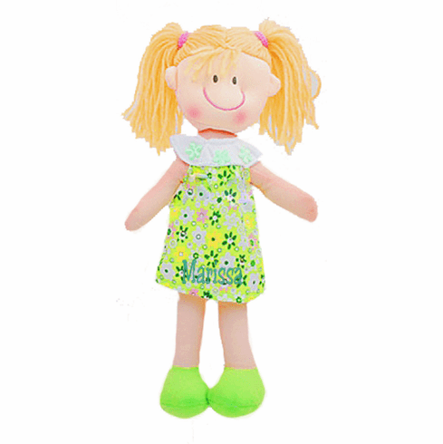 "Personalized Soft Cloth Rag Dolly 11"" Cute Yellow Flower Dress"