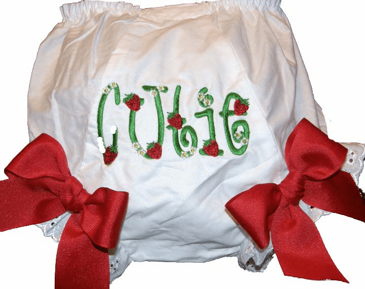 Personalized Strawberries Diaper Cover Bloomers Large Red Bows