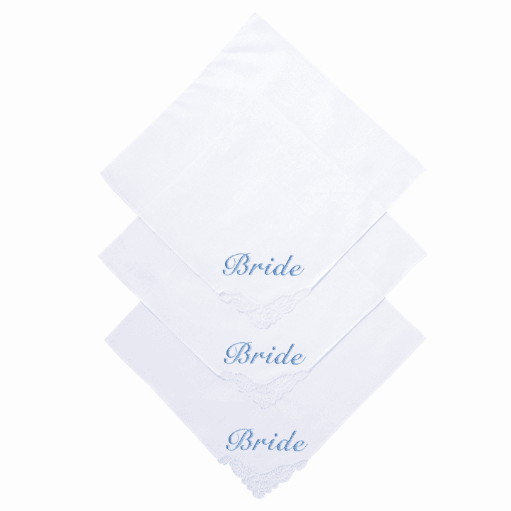 "Personalized Stunning White ""Bride"" Wedding Handkerchief Delicate Lace Corner 0815SR"
