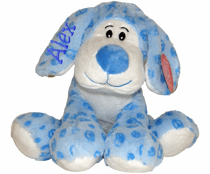 Personalized Super Soft Blue Floppy Plush Peace Sign Puppy