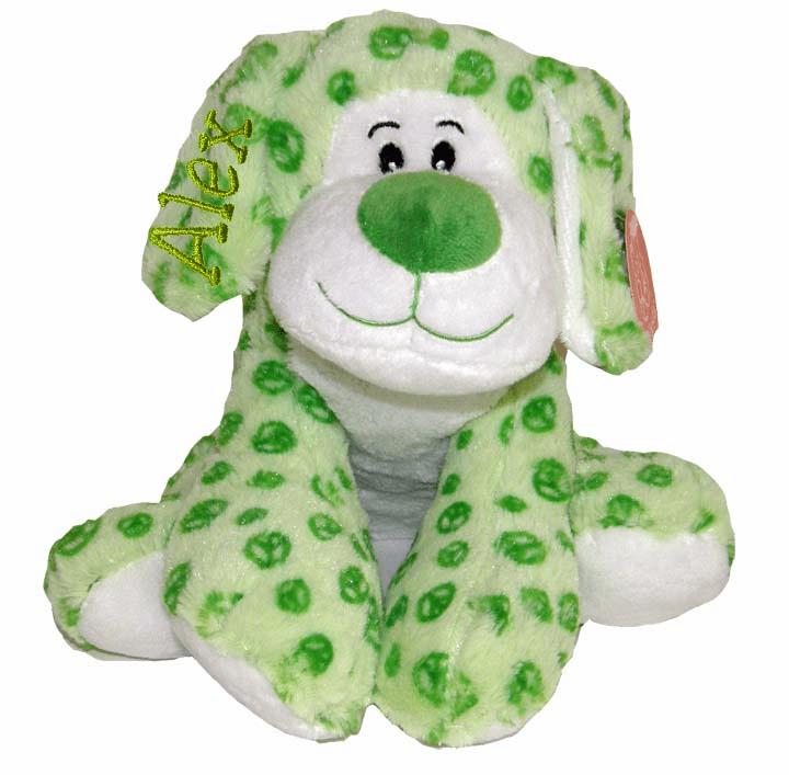 Personalized Super Soft Green Floppy Plush Peace Sign Puppy