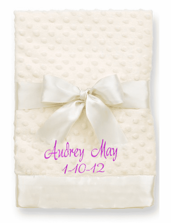 Personalized Super Soft Ivory, Pink or Blue Raised Dot Minky Blanket with Satin Trim & Back
