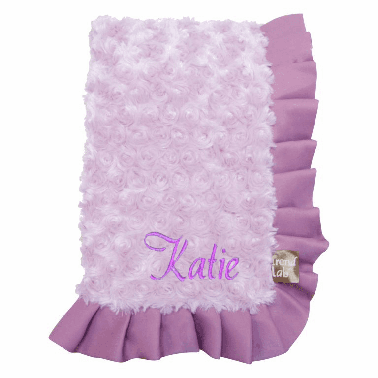 Personalized Super Soft Lavender Furry Swirls and Purple Ruffled Trim