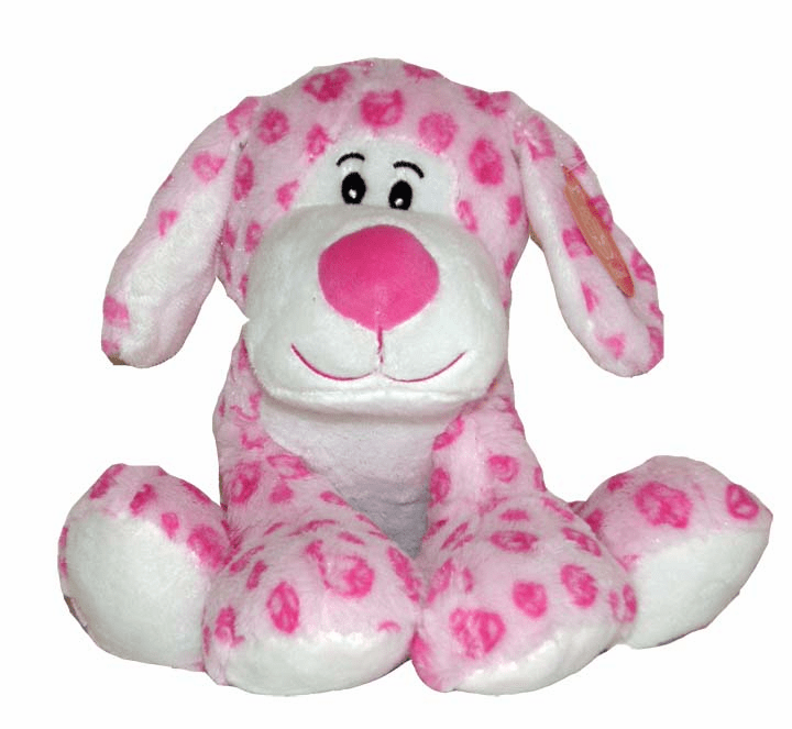 Personalized Super Soft Pink Floppy Plush Peace Sign Puppy