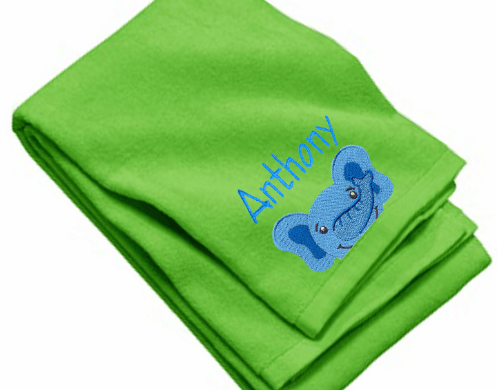 "Personalized Terry Velour Beach/Bath Towel Elephant Design 35""x 62"""
