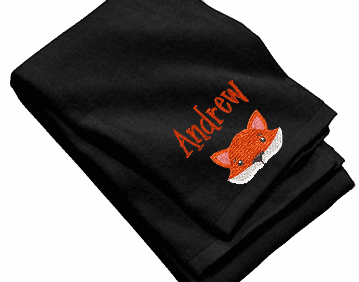 "Personalized Terry Velour Beach/Bath Towel Fox Design 35""x 62"""