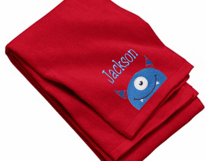 "Personalized Terry Velour Beach/Bath Towel Monster Design 35""x 62"""