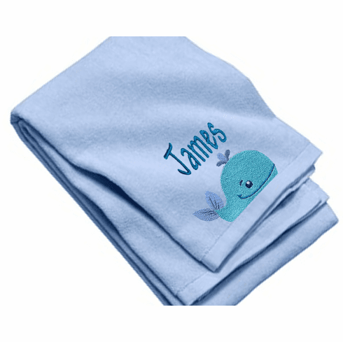 "Personalized Terry Velour Beach/Bath Towel Ocean Whale Design 35""x 62"""