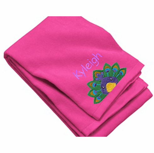 "Personalized Terry Velour Beach/Bath Towel Peacock Design 35""x 62"""