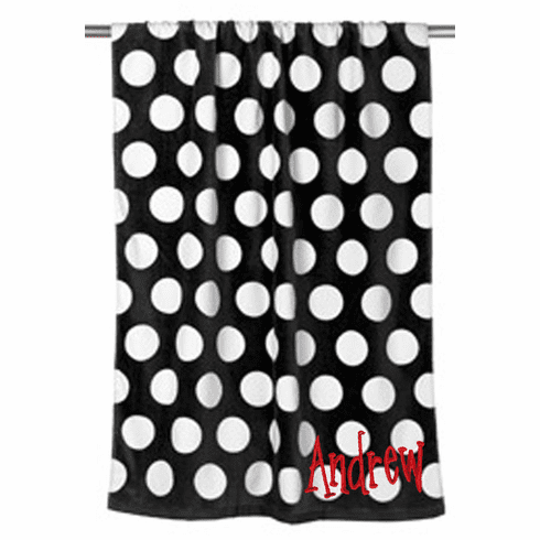 "Personalized Terry Velour Beach Towel Black Dots Design 30""x 60"""