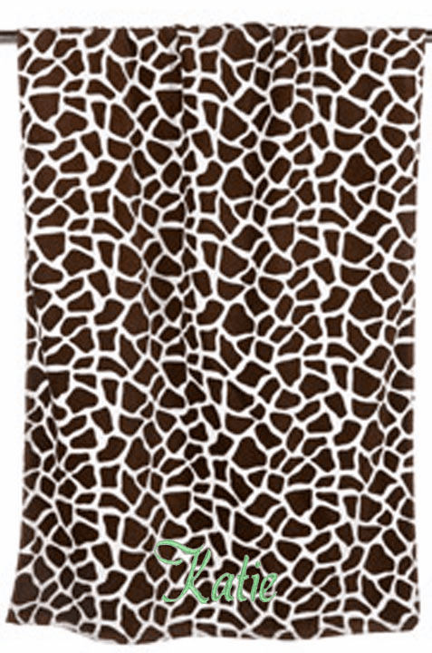 "Personalized Terry Velour Beach Towel Giraffe Print 30""x 60"""