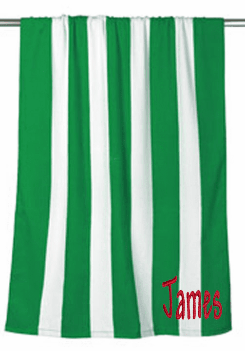 "Personalized Terry Velour Beach Towel Green Stripes 30""x 60"""