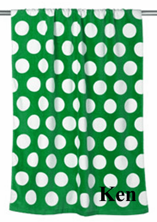 "Personalized Terry Velour Beach Towel Green with Polka Dots 30""x 60"""
