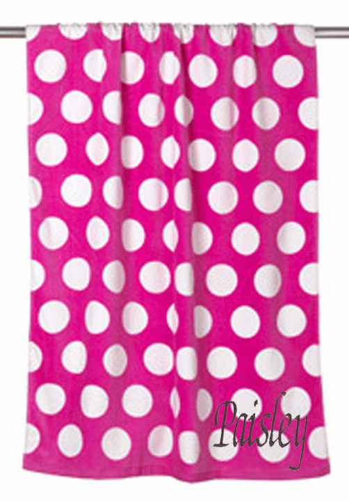 "Personalized Terry Velour Beach Towel Hot Pink Polka Dots 30""x 60"""
