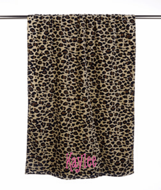 "Personalized Terry Velour Beach Towel Leopard Print 30""x 60"""