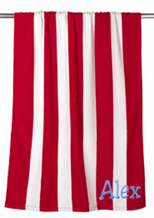 "Personalized Terry Velour Beach Towel Red Stripes 30""x 60"""