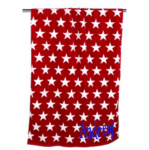"Personalized Terry Velour Beach Towel Red with Stars 30""x 60"""