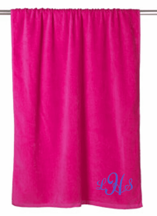 "Personalized Terry Velour Beach Towel Solid Hot Pink 30""x 60"""