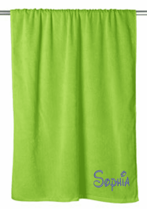 "Personalized Terry Velour Beach Towel Solid Lime 30""x 60"""
